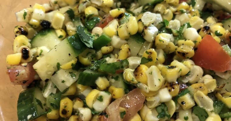 Grilled Corn Salad with Cilantro Lime Dressing