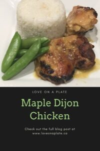 Maple Dijon chicken with rice and snap peas