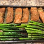 Salmon Fillets and Asparagus on a sheet pan
