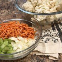 Cauliflower Soup Ingredients; Cauliflower, Carrots,Celery, Onion