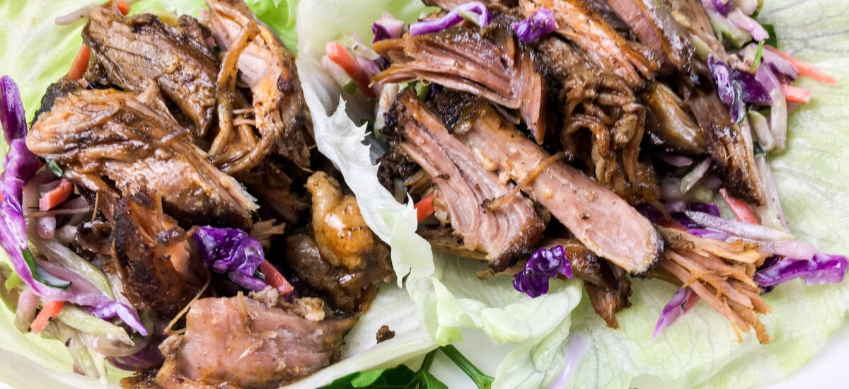 Slow Cooked Pulled Pork Lettuce Wraps; Keto friendly