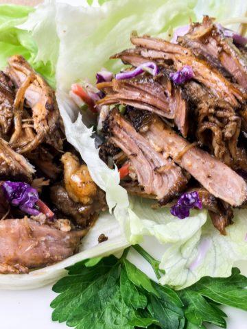 Two pulled pork lettuce wraps