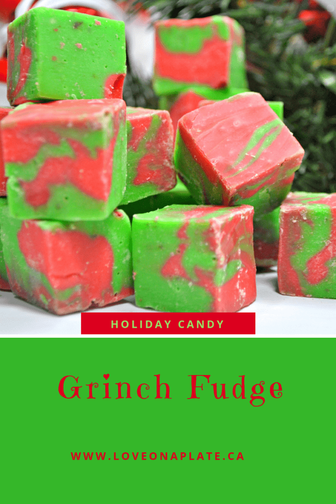 Green and Red White Chocolate fudge
