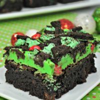 Chocolate Brownies with Green icing, chopped oreo cookie crumble and cinnamon red hots