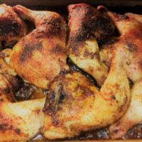 Oven roasted chicken quarters with a savoury rub.
