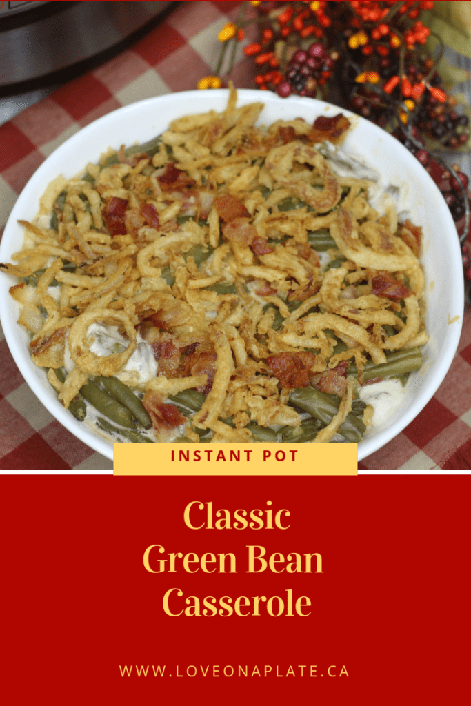 Green Bean Casserole in a white serving bowl