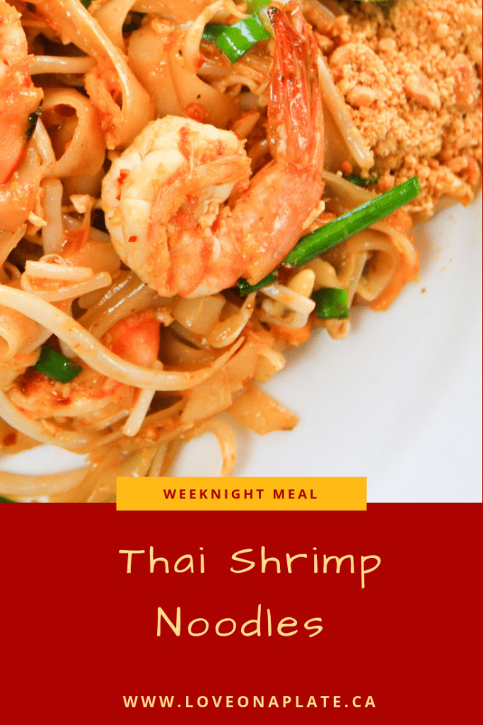 Thai Shrimp Noodles on a white plate