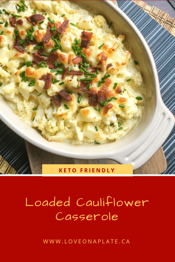 Loaded Cauliflower Casserole in a white baking dish