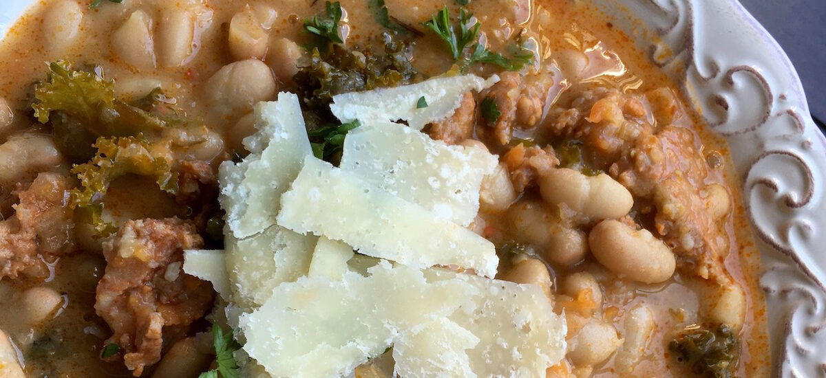 One Skillet White Bean Spicy Sausage Soup