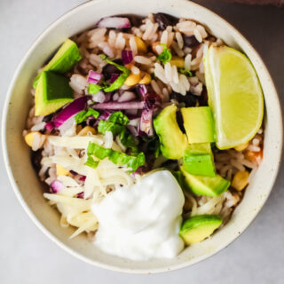 Tex Mex Chicken and Rice Burrito Bowl topped with sour cream and red onion.