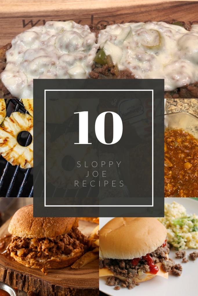 Collage of photos of sloppy joe sandwiches
