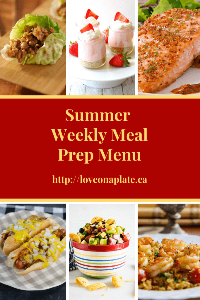 collage of summer recipes for summer meal prepping