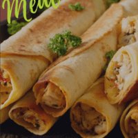 A pinterest grapchic A stack of baked taquitos filled with chicken and cream cheese, piled on a wooden cutting board with a side dish of salsa