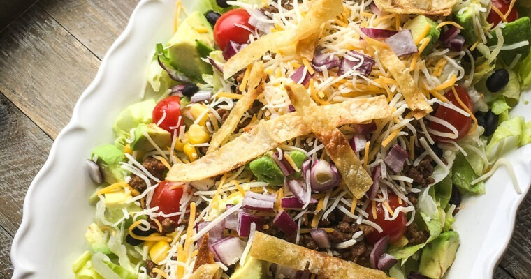 Beef Taco Salad; prepaheadable!