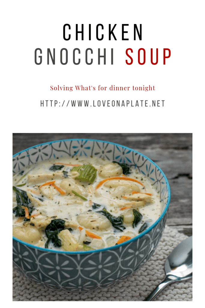 Chicken Gnocchi Soup Pin image in post