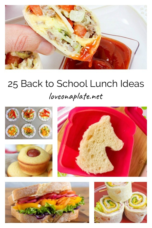 Collage of photos for back to school lunches