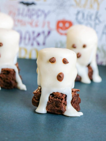 Boxed Brownie Mix with decorated marshmallow ghosts