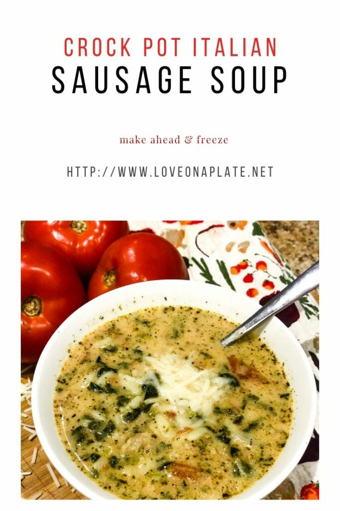 Creamy chicken broth with Italian Sausage, Spinach and Orzo topped with Parmesan Cheese