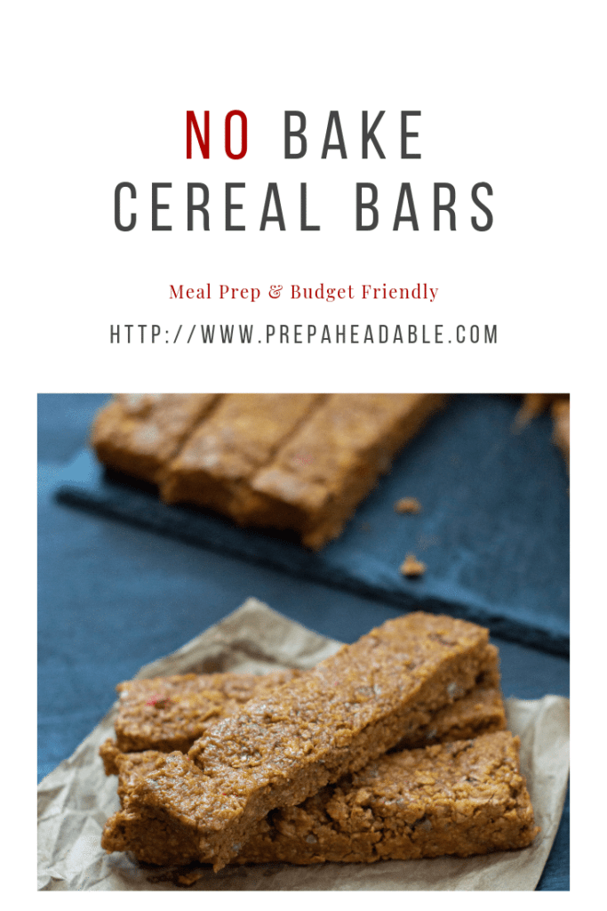 Nut Butter and cereal, with a hint of maple syrup create No Bake Cereal Bars in a hurry