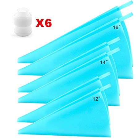Silicone Pastry Bags, Weetiee 3 Sizes Reusable Icing Piping Bags 6 Pack - Bonus 6 Icing Couplers Fit to Wilton Standard Size Tips