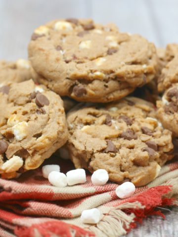 milk chocolate cookies with mini marshmallows, and chocolate chips