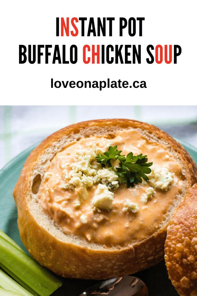 Buffalo Chicken Soup in a bread bowl