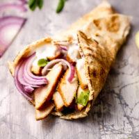 Greek Yogurt Dressing on a Chicken Pita sandwich