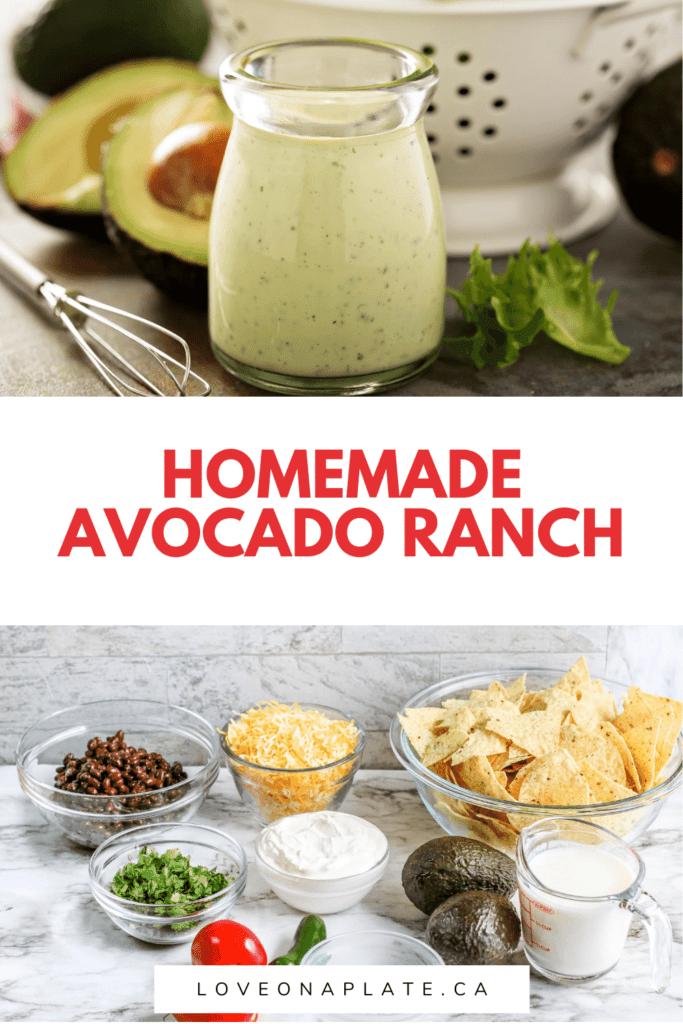 Homemade avocado ranch dressing in a small jar