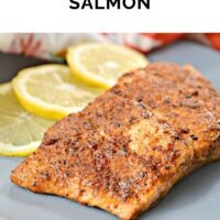 Salmon filet rubbed with a homemade blackening spice cooked in the air fryer