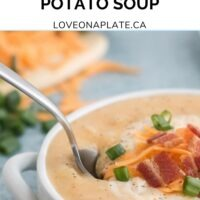 Creamy Potato soup with cheese cooked in the Instant Pot. Loaded with cheese, bacon, and green onions